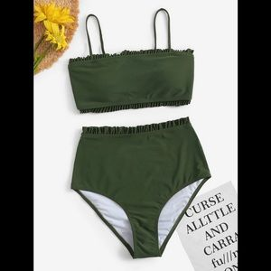 Olive Green Bandeau High Waisted Bikini Set Size S